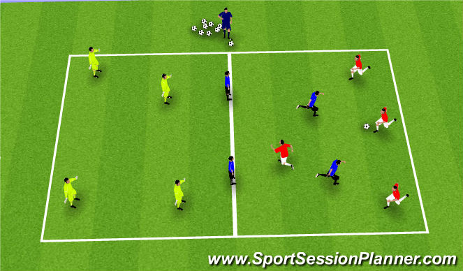 Football/Soccer Session Plan Drill (Colour): Breaking Lines: Warm-Up