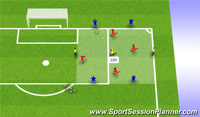 Football/Soccer Session Plan Drill (Colour): Warm-Up - Rondo Transition 4v4+3