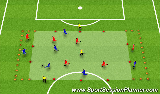 Football/Soccer Session Plan Drill (Colour): 4(6)v4(6)+3 Wide and Long