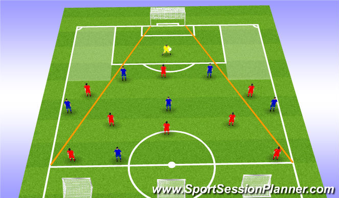 Football/Soccer Session Plan Drill (Colour): Blue's w/ ball Diagram