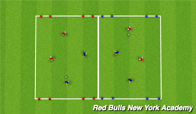 Football/Soccer Session Plan Drill (Colour): Main theme 2v2(20m)