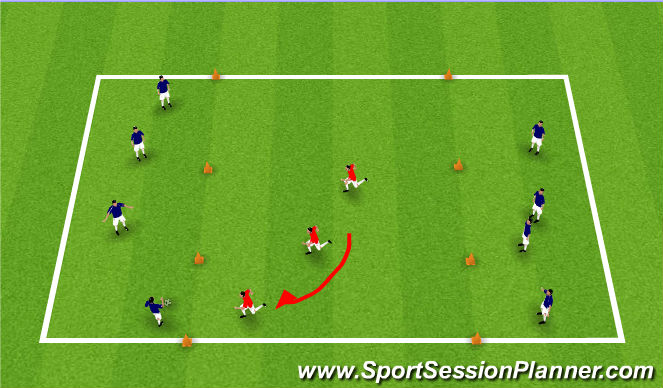 Football/Soccer Session Plan Drill (Colour): Defending as a Unit of 3