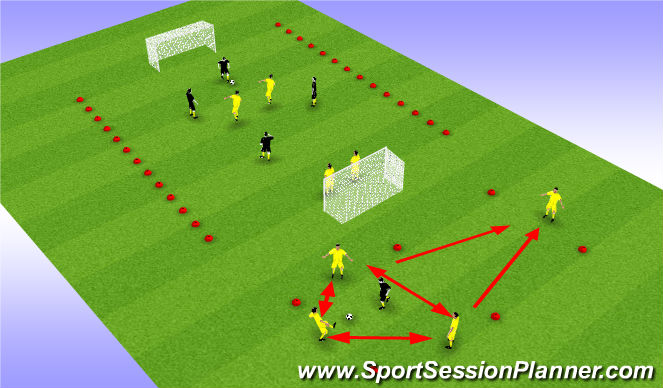 Football/Soccer Session Plan Drill (Colour): 4v4-2 Game