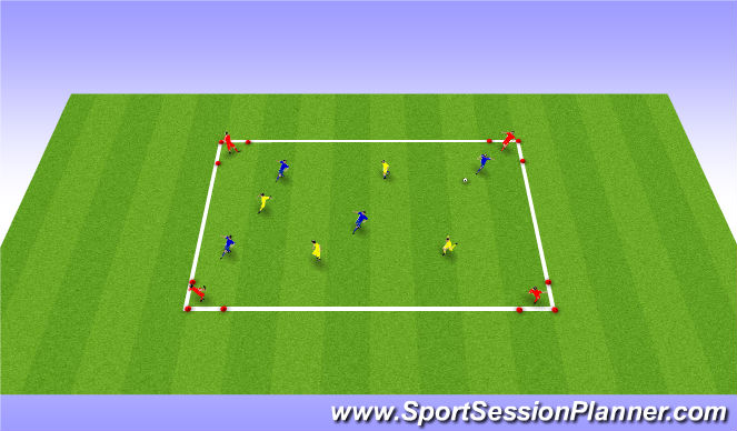 Football/Soccer Session Plan Drill (Colour): SSG 4V4 - 3 teams