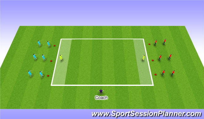 Football/Soccer Session Plan Drill (Colour): Pressing in small groups.
