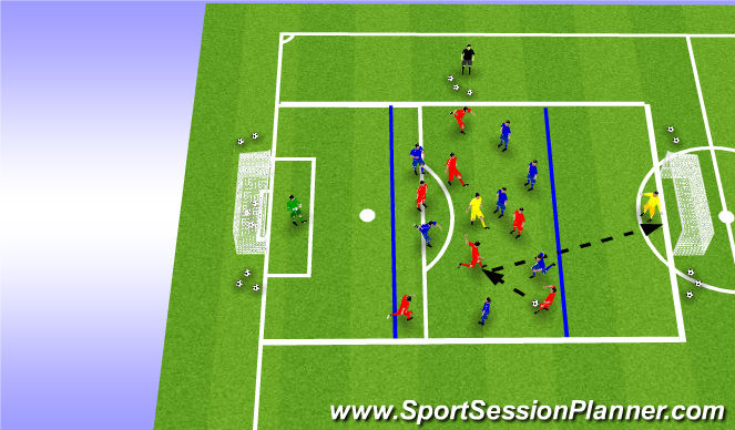 Football/Soccer Session Plan Drill (Colour): 7v7 + 1 Shooting