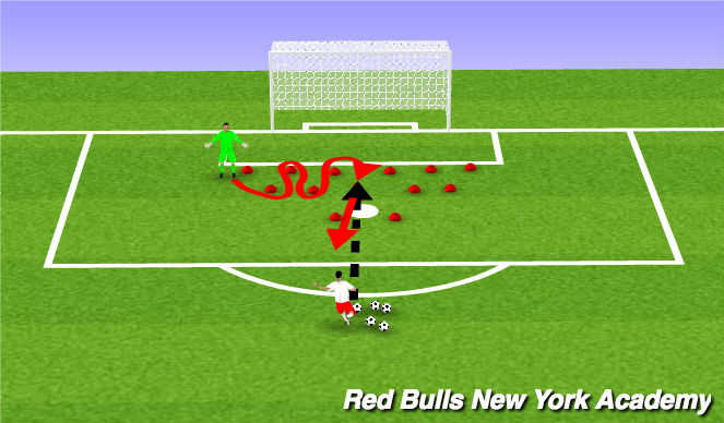 Football/Soccer Session Plan Drill (Colour): Footwork/Handling - GK, Coach
