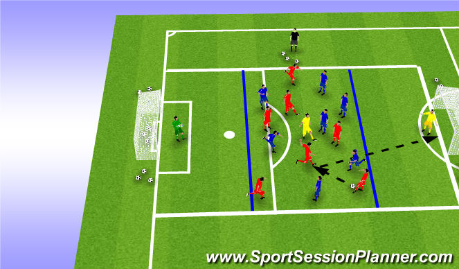 Football/Soccer Session Plan Drill (Colour): 7v7 + 1 Shooting