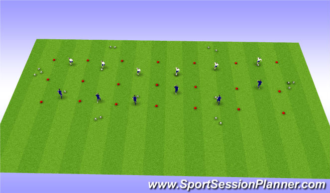 Football/Soccer Session Plan Drill (Colour): 1v1 to Endlines