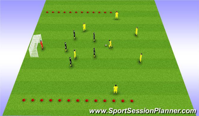 Football/Soccer Session Plan Drill (Colour): 7v5: possession