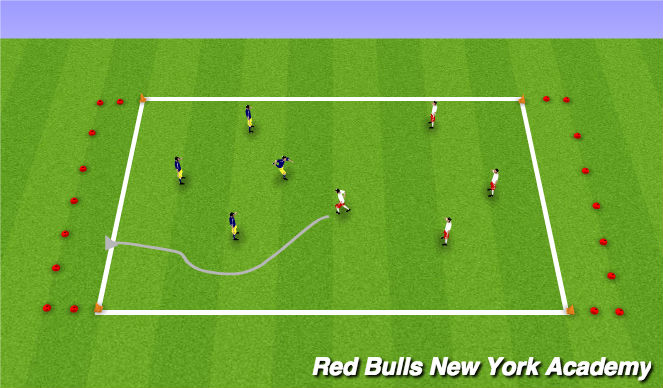 Football/Soccer Session Plan Drill (Colour): Conditined game (Dribbling Arena)