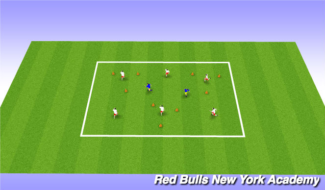 Football/Soccer Session Plan Drill (Colour): Warm-Up/Triangle Tag
