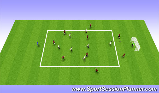 Football/Soccer Session Plan Drill (Colour): 7 v 9 Press