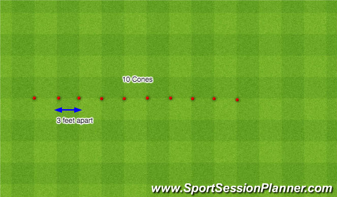 Football/Soccer Session Plan Drill (Colour): Zig Zag Dribble - Regualr