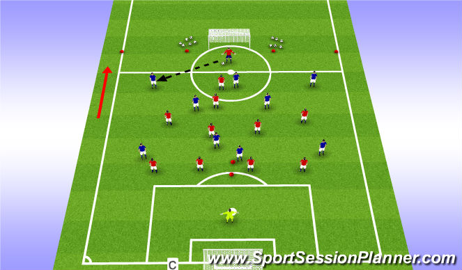 Football/Soccer Session Plan Drill (Colour): Defending 2:  Defensive shape in  own half