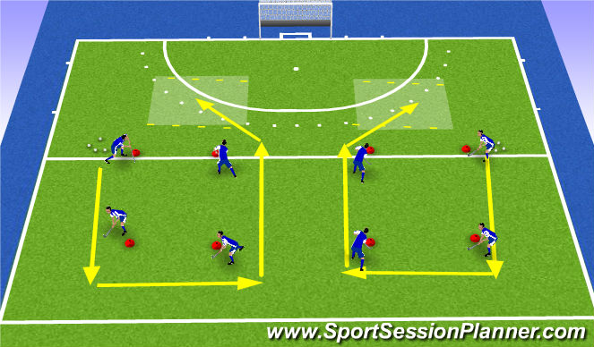 Hockey Session Plan Drill (Colour): passing around