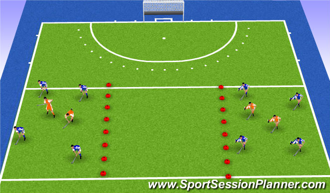 Hockey Session Plan Drill (Colour): x v2 possession game