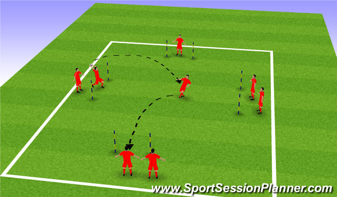 Football/Soccer Session Plan Drill (Colour): Receive on volley drill