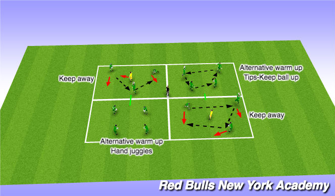 Football/Soccer Session Plan Drill (Colour): Warm up hands