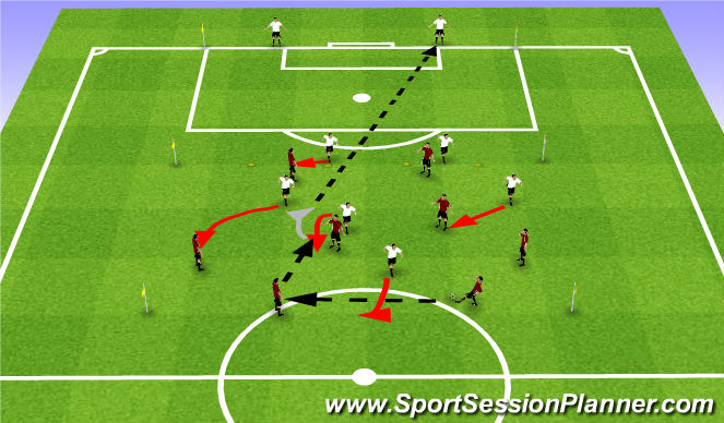 Football/Soccer Session Plan Drill (Colour): 8 v 6