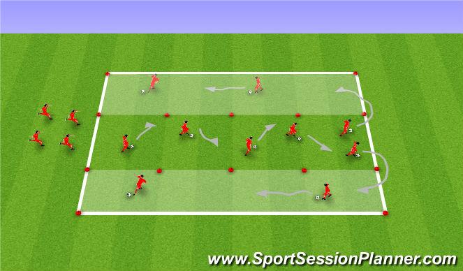 Football/Soccer Session Plan Drill (Colour): Skills Corridor warm up