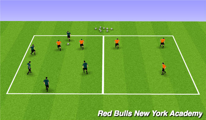 Football/Soccer Session Plan Drill (Colour): Main Theme I: 5v2 +2