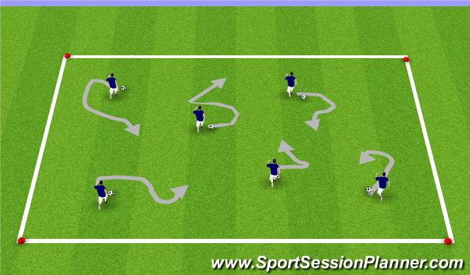 Football/Soccer Session Plan Drill (Colour): Warm up- Beans on Toast