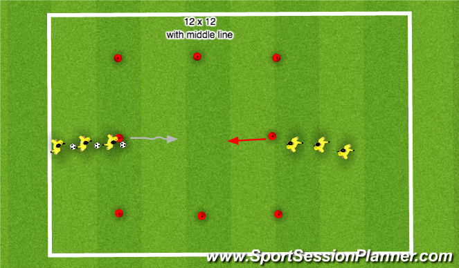 Football/Soccer Session Plan Drill (Colour): 1 v 1 - beat the defender