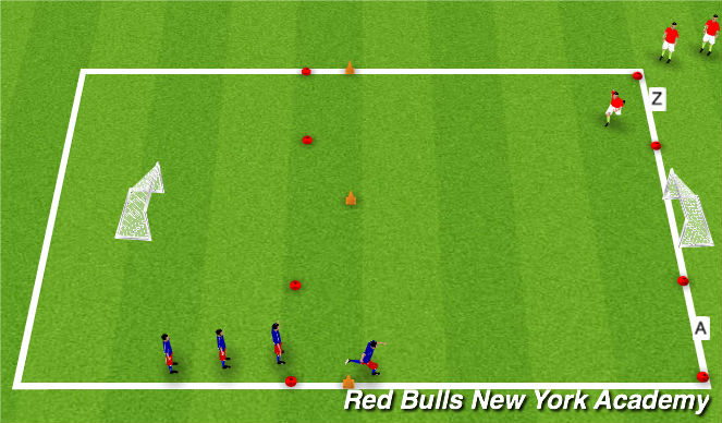 Football/Soccer Session Plan Drill (Colour): Motorskills - Feint Move 1v1