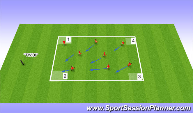 Football/Soccer Session Plan Drill (Colour): Technique (Unopposed)