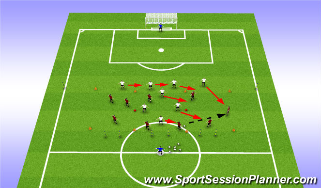 Football/Soccer Session Plan Drill (Colour): 8 v 9