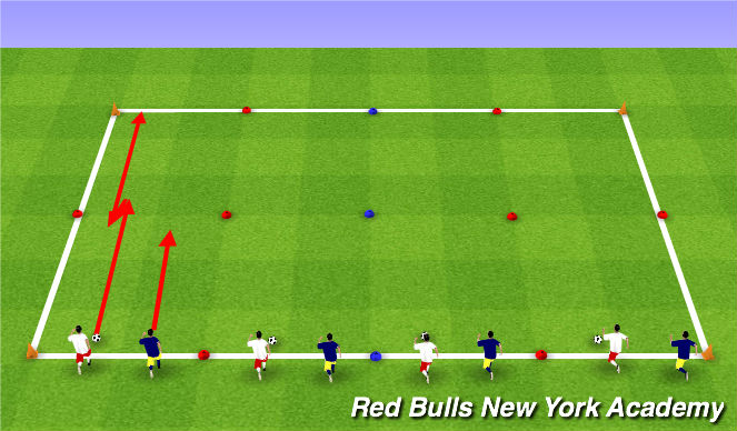Football/Soccer Session Plan Drill (Colour): 1v1 Race