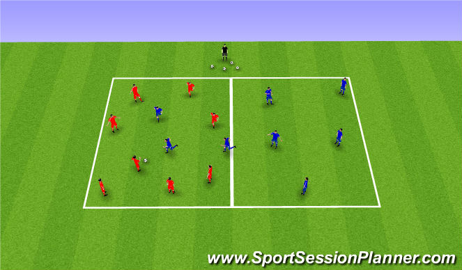 Football/Soccer Session Plan Drill (Colour): 8v8 - 5 transition