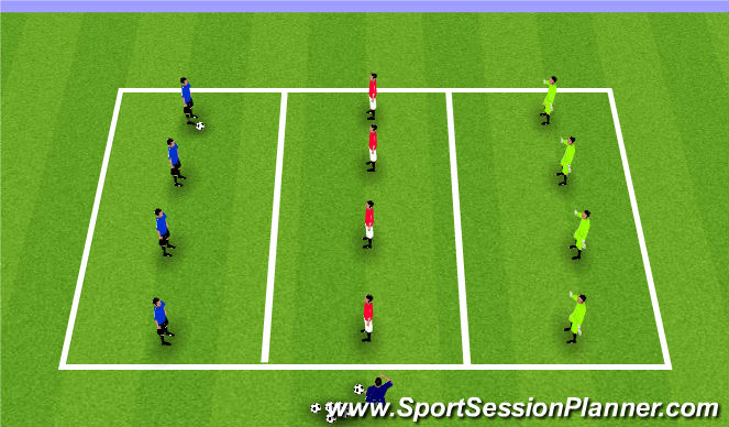 Football/Soccer Session Plan Drill (Colour): Warm-Up: Center Press Game
