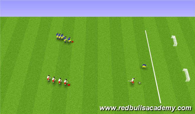 Football/Soccer Session Plan Drill (Colour): 1 á 1 á tvö lítil mörk.