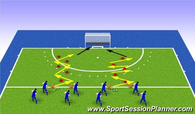 Hockey Session Plan Drill (Colour): passen met visie