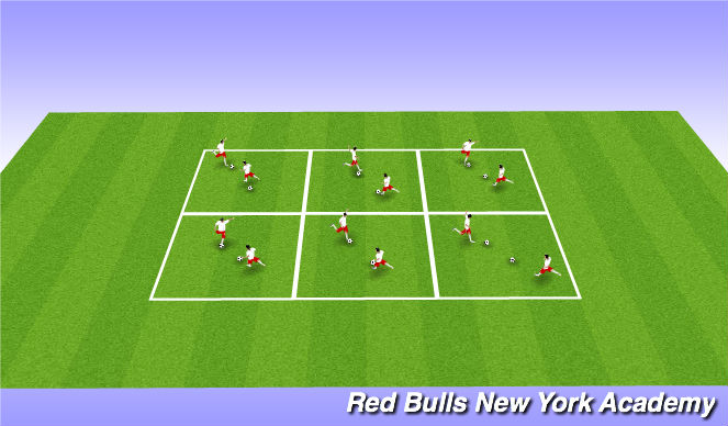 Football/Soccer Session Plan Drill (Colour): BALL MASTERY 10'