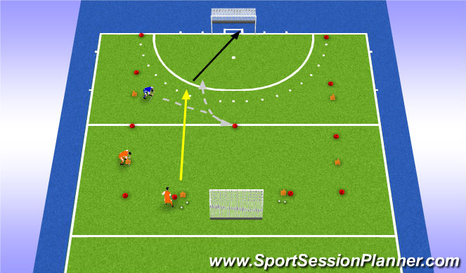 Hockey Session Plan Drill (Colour): Overtal aanvallen