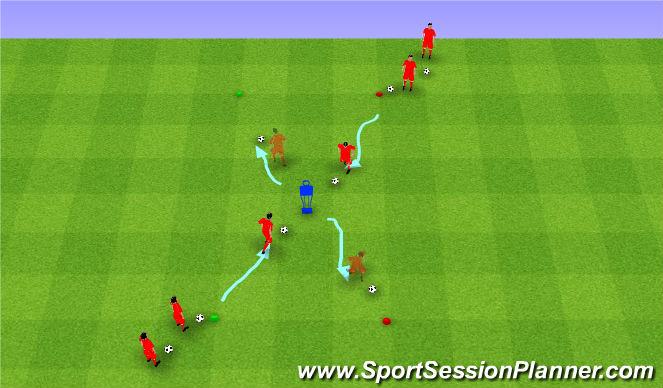 Football/Soccer Session Plan Drill (Colour): Dribbling 20