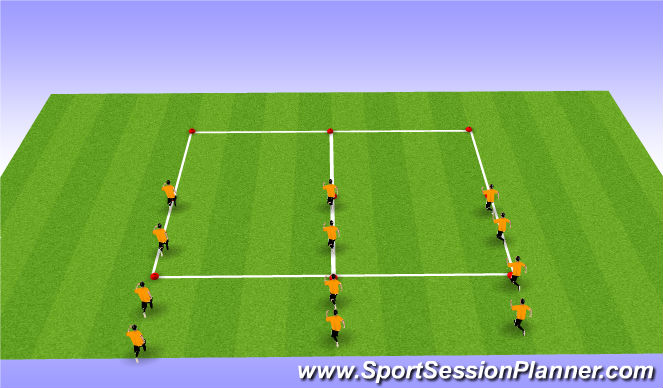 Football/Soccer Session Plan Drill (Colour): Warm Up 1 - Activation