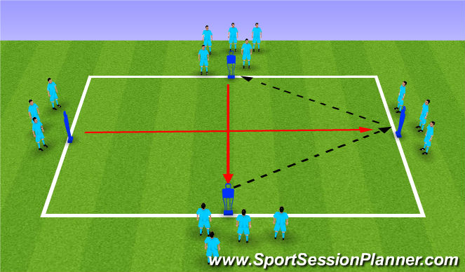 Football/Soccer Session Plan Drill (Colour): Warm Up 3 - Pressing Drill