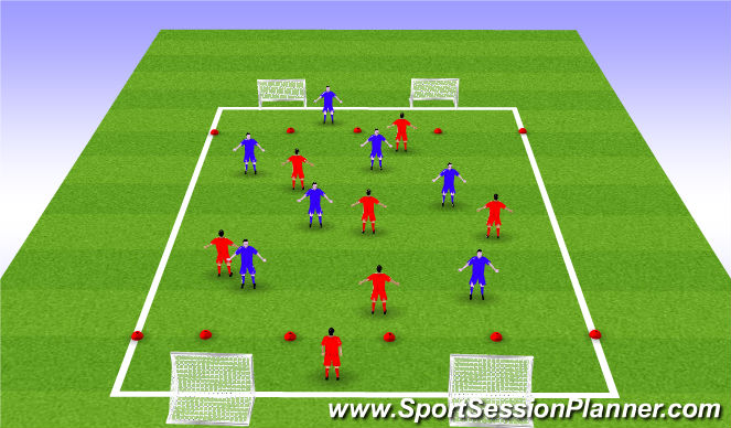 Football/Soccer Session Plan Drill (Colour): Volley assist and finish game