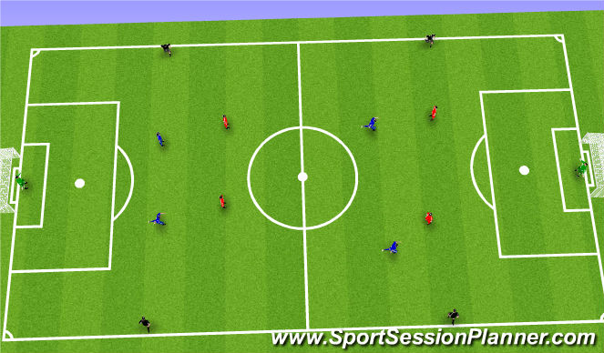 Football/Soccer Session Plan Drill (Colour): Game 4v4+4
