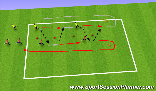 Football/Soccer Session Plan Drill (Colour): Technique (2 players on move)