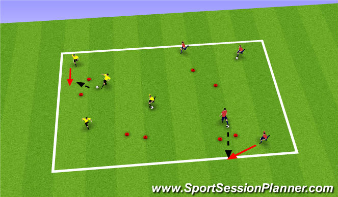 Football/Soccer Session Plan Drill (Colour): Technique (Gates)
