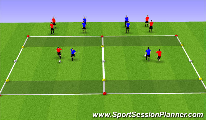 Football/Soccer Session Plan Drill (Colour): Technical: Semi-Opposed