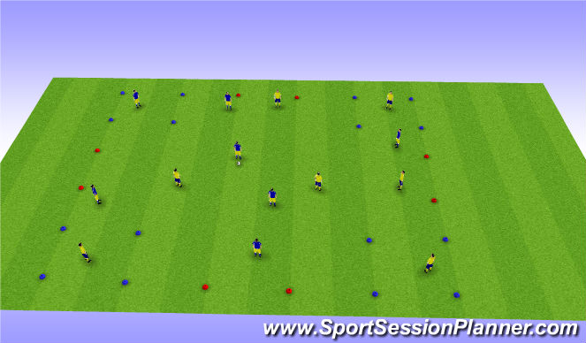 Football/Soccer Session Plan Drill (Colour): 4 Corners