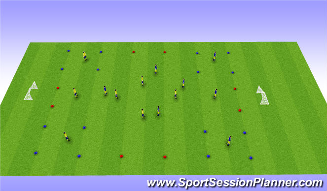 Football/Soccer Session Plan Drill (Colour): 4 Corners to Goal