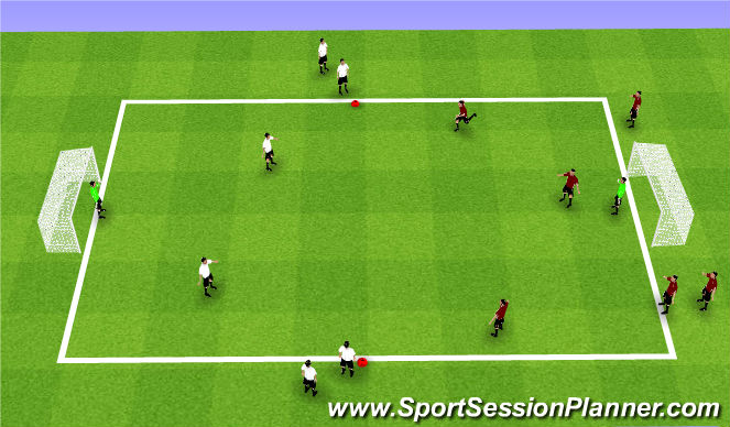 Football/Soccer Session Plan Drill (Colour): 3v2 - 4v3