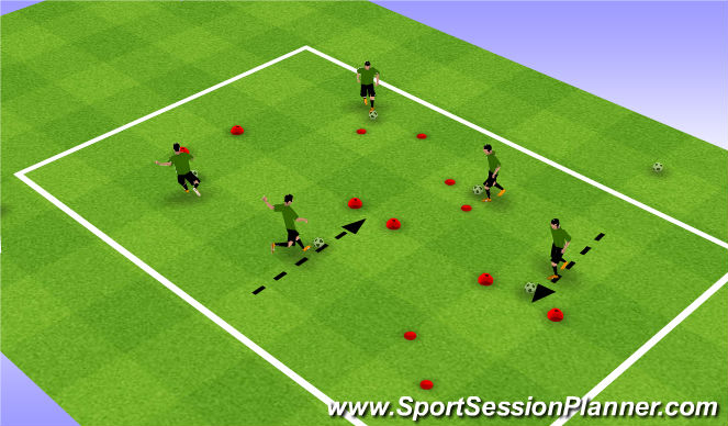 Football/Soccer Session Plan Drill (Colour): U7-Dribble : Warmup